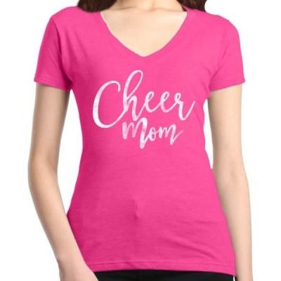 レディース 衣類 トップス Shop4Ever Women's Cheer Mom Cheerleader Slim Fit V-Neck T-Shirt グラフィックティー