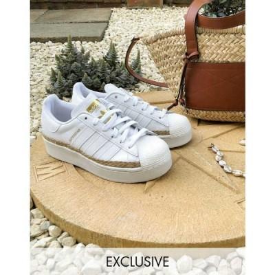 アディダス adidas Originals レディース スニーカー シューズ・靴 Superstar Bold Trainers In White With Rope Detail Exclusive To Asos ホワイト
