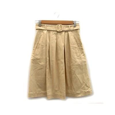 【中古】ユナイテッドアローズ UNITED ARROWS スカート プリーツ ひざ丈 ベルト付き リネン混 36 ベージュ /MS23 レディース 【ベクトル 古着】