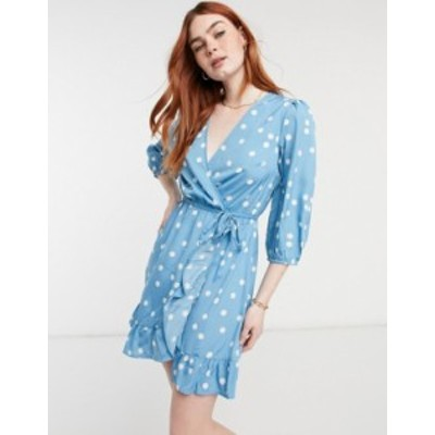 ニュールック レディース ワンピース トップス New Look spot wrap tiered mini dress in blue pattern Blue pattern