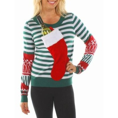 tipsy elves ティプシーエルヴィス ファッション トップス Tipsy Elves Womens Green Medium M Stocking Striped Crewneck Sweater