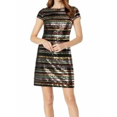 Vince ヴィンス ファッション ドレス Vince Camuto NEW Black Womens Size 8 Sequin Striped Shift Dress