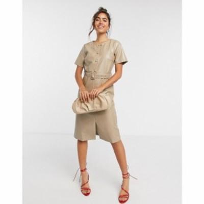 ヴィラ Vila レディース ワンピース ミドル丈 ワンピース・ドレス Leather Look Midi Dress With Belt And Button Detail ベージュ