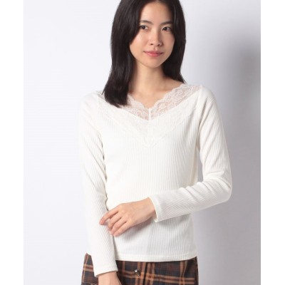 (OLIVE des OLIVE/オリーブデオリーブ)衿スカラップレーステレコTシャツ/レディース オフホワイト