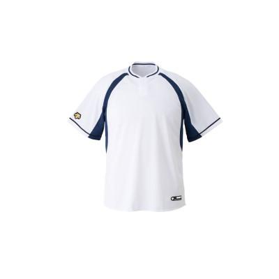 (DESCENTE/デサント)【ジュニア】【野球】ベースボールシャツ/メンズ ホワイト/ネイビー