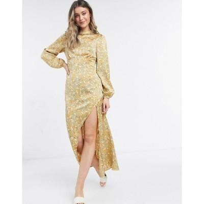 ネバーフリードレスド レディース ワンピース トップス Never Fully Dressed long sleeve midaxi dress in multi leaf print