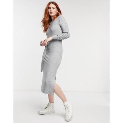 トップショップ レディース ワンピース トップス Topshop belted midi dress in gray