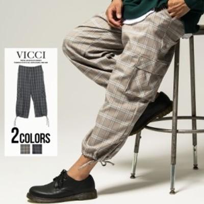 カーゴパンツ メンズ チェック柄 裾絞り VICCI ビッチ チェック柄ワイドカーゴパンツ 即日発送 ウエストゴム カジュアル ストリート ベー