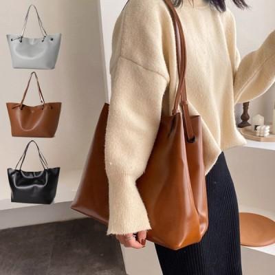 トートバッグ 大きめ A4 無地 PUレザー 革 スクエア マチ きれいめ 冬 通勤 通学 バッグ 鞄 レディース