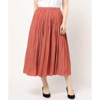 スカート 《洗える》割繊Wゴムギャザースカート