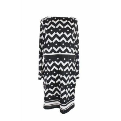 ファッション ドレス Inc Internazionale Concepts Nero Muffin Chevron-Print Vestito Aderente L