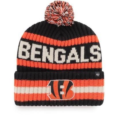 フォーティーセブン メンズ 帽子 アクセサリー '47 Men's Cincinnati Bengals Bering Black Cuffed Knit Hat