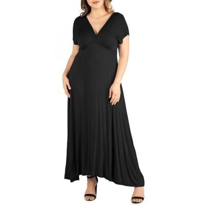 24セブンコンフォート ワンピース トップス レディース Women's Plus Size Empire Waist Maxi Dress Black