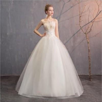 花嫁 ウエディングドレス 二次会 ブライズメイドドレス 結婚式 卒業式ス テージドレス 発表会 パーティードレス 白 ホワイト 撮影