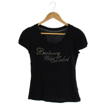 【中古】バーバリーブルーレーベル BURBERRY BLUE LABEL Tシャツ カットソー 半袖 黒 38 /DK11 レディース【ベクトル 古着】