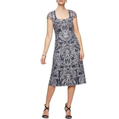 アレックスイブニングス レディース ワンピース トップス Petite Size Soutache Scoop Neck Cap Sleeve Midi Dress Navy/Silver