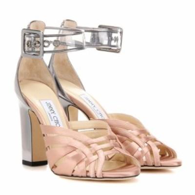ジミー チュウ Jimmy Choo レディース サンダル・ミュール シューズ・靴 Tristen 100 satin and leather sandals Tea Rose/Steel/Clear