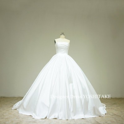 サテン白のプリンセスドレス(パニエ付)ブライダル挙式用.フォト婚.結婚式衣装