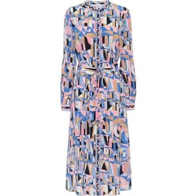 エミリオ プッチ Emilio Pucci レディース ワンピース ミドル丈 ワンピース・ドレス Printed silk-crepe midi dress Blu/Acqua
