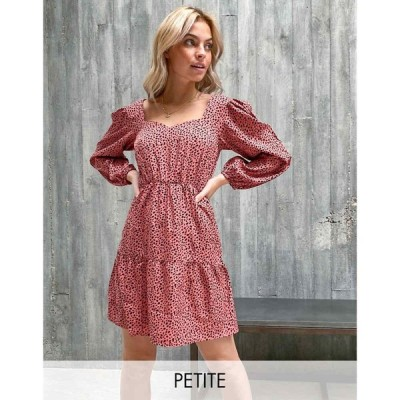 ニュールック New Look Petite レディース ワンピース Aライン ワンピース・ドレス sweetheart neck tiered mini dress in pink pattern ピンクパターン