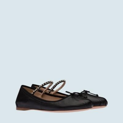 ミュウミュウ MIU MIU バレエシューズ バレリーナ シューズ 靴 ブラック クリスタル リボン ナッパレザー