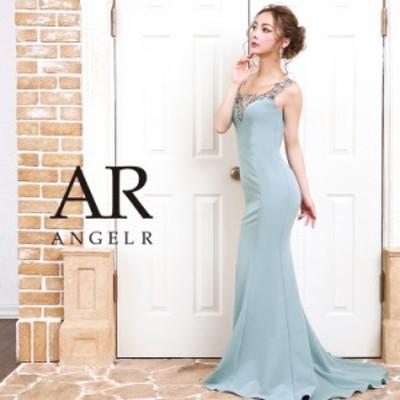 AngelR エンジェルアール [アンティークゴールドビジュータイトロングドレス]ロングドレス タイト ノースリーブ ビジュー ストーン 無地