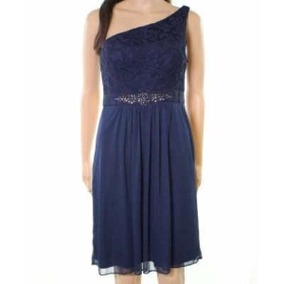 Adrianna Papell アドリアーナ パペル ファッション ドレス Adrianna Papell NEW Blue Womens Size 16 One-Shoulder Lace Sheath Dress