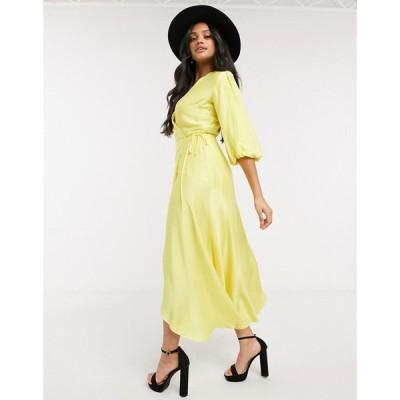 リカリッシュ Liquorish レディース ワンピース ラップドレス ミドル丈 ワンピース・ドレス midi wrap dress with balloon sleeves in yellow イエロー