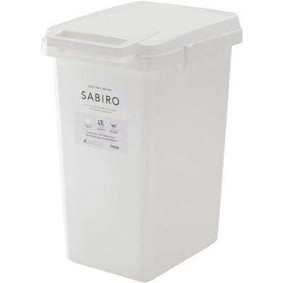 ゴミ箱/ダストボックス 〔45L ホワイト〕 幅34.1cm 日本製 ハンドル ふた付き 『リス SABIRO サビロ 連結ワンハンドペール』