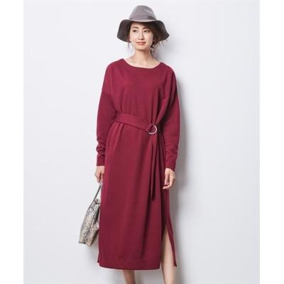 【大きいサイズ】 シックスタイル 共布ベルト付ドルマンスリーブカットソーワンピース ワンピース, plus size dress