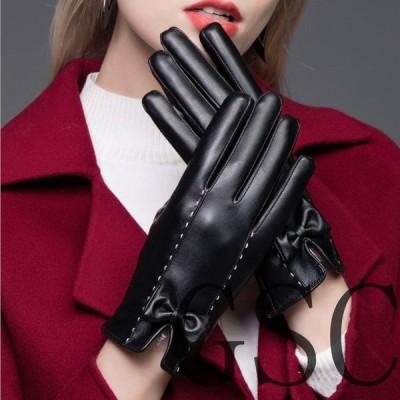 スマホ手袋レディーススマホ手袋スマートフォン対応防寒革手袋手袋本革レザー手ぶくろ本革ラム革皮手袋シンプル裏起毛かわいいおしゃれ秋冬