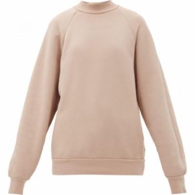 レス ティエン Les Tien レディース スウェット・トレーナー トップス High-neck brushed-back cotton sweatshirt Blush pink