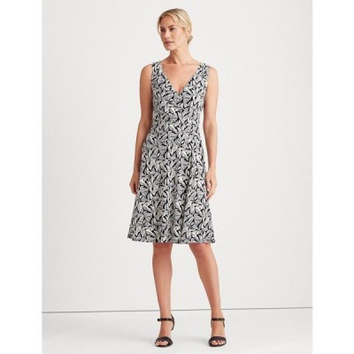 ラルフローレン ワンピース トップス レディース Printed Jersey Surplice Dress Navy/Cream