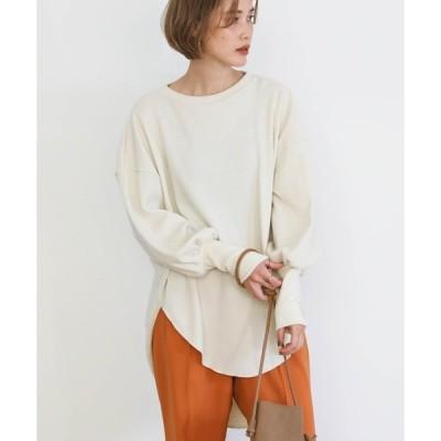 tシャツ Tシャツ 2020 A/W ロングスリーブワッフルプルオーバー/綿混ラウンドネックルーズプルオーバー