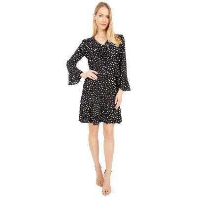 ロンドンタイムス レディース ワンピース トップス Confetti Dot Bubble Crepe Long Sleeve Side Ruffle Flounce Dress