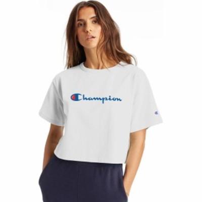 チャンピオン Champion レディース ベアトップ・チューブトップ・クロップド Tシャツ トップス heritage script cropped t-shirt White