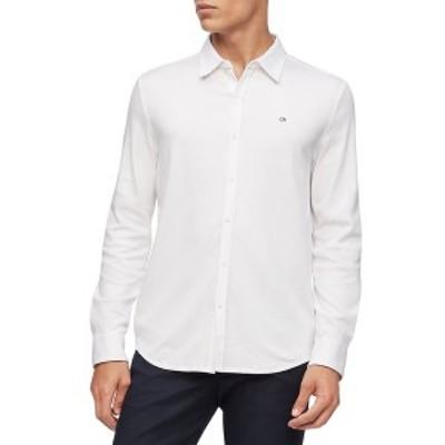 カルバンクライン メンズ シャツ トップス Liquid Touch Knit Shirt Brilliant White
