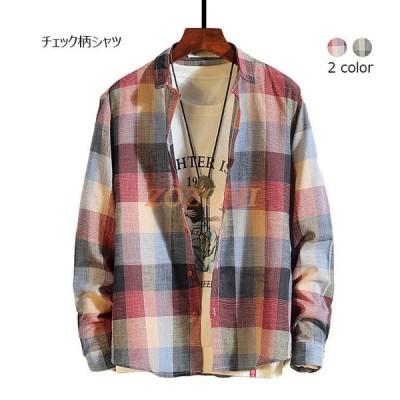 シャツ メンズ チェック柄 長袖 カジュアルシャツ チェック柄シャツ ボタンシャツ 薄手 カジュアル シンプル トップス 秋新作