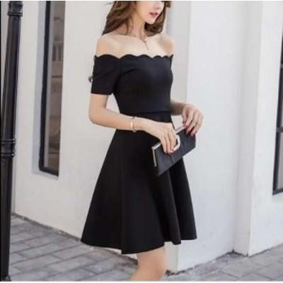 袖あり 黒 パーティードレス ワンピース ワンピースドレス ドレスワンピ お呼ばれドレス イブニングドレス 二次会 お呼ばれ デート 同窓