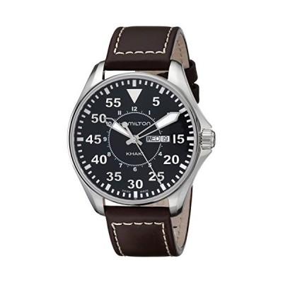 Hamilton ハミルトン メンズ 時計 腕時計 Men's H64611535 Khaki King Pilot Black Watch with Brown Leather Band