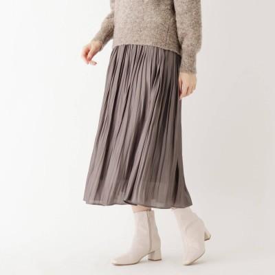 インデックス INDEX 【WEB限定サイズ】割繊シャイニーサテンワッシャープリーツスカート (タバコブラウン)