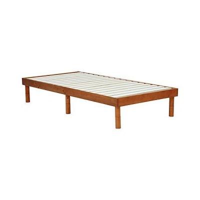 萩原 ベッド 天然パイン材 木製 シングル フロアベッド【3段階高さ調節】 (ライトブラウン) WB-7700S-LBR