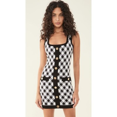 バルマン Balmain レディース ワンピース ワンピース・ドレス Short Buttoned Gingham Jacquard Dress Noir/Blanc