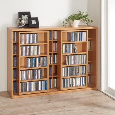 家具 収納 本棚 ラック シェルフ CDラック DVDラック スライド式CD&コミックラック 2重タイプ5段 幅120cm [CD用] 592441