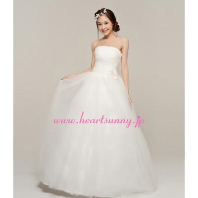 ウェディングドレス 折り目ビスチェ パール飾り手作り花 透明感オーガンジー 編み上げ E154