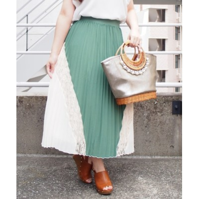 INTERPLANET/actuel / ジョーゼット*レース切替プリーツスカート WOMEN スカート > スカート