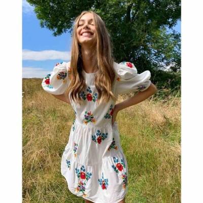 エイソス ASOS DESIGN レディース ワンピース ミニ丈 ワンピース・ドレス all over embroidered cotton mini smock dress ホワイト