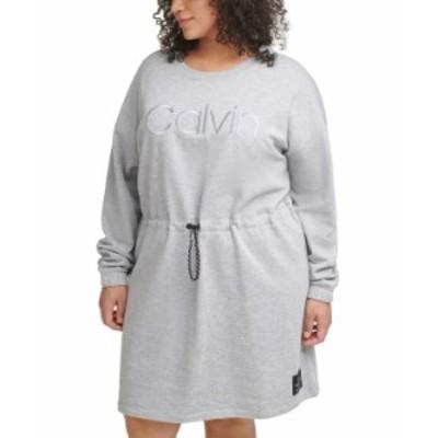 カルバンクライン レディース ワンピース トップス Plus Size Embroidered Logo Dress Pearl Grey Heather