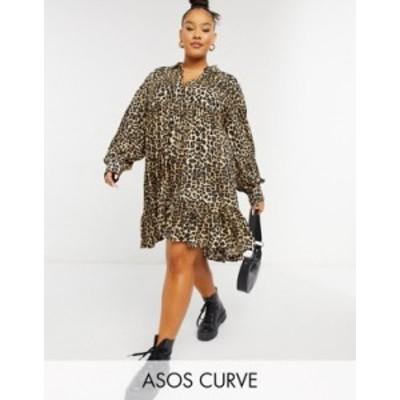 エイソス レディース ワンピース トップス ASOS DESIGN Curve trapeze mini shirt dress with pep hem in animal print Animal print