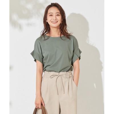 (any SiS L/エニスィスオオキイサイズ)【UVケア】ヒーリングカラー タックスリーブ Tシャツ/レディース ディープミント